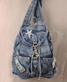 Vintage Diamante Denim Backpack