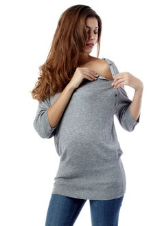 Queen Bee Nessa Bamboo Grey Maternity/Nursing Knit Jumper by Seraphine