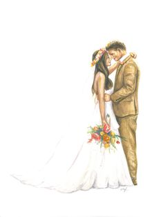 Custom Illustration Painting: Wedding Couple by BryonyIllustrations