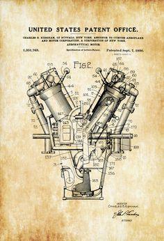 Piloto de avión patente Motor  aeroplano Vintage motor