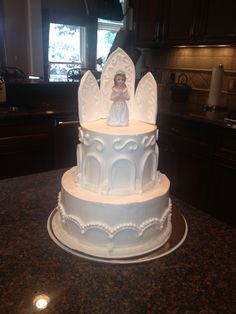 First Communion Cake with kneeling Willow Tree girl figurine or angel instead.