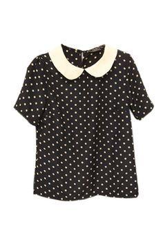polkadot shirt with peter pan collar
