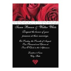 Red Rose Wedding Invitation with Gray Hearts