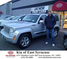 I purchased a 2012 Jeep Liberty from Kia of East Syracuse and Mike Secules. It was an awesome experience and Mike was really cool. It was quick and easy. I've referred people in the past and will again. - Chuck Foster, Tuesday, November 18, 2014 http://www.kiaofeastsyracuse.com/?utm_source=Flickr&utm_medium=DMaxxPhoto&utm_campaign=DeliveryMaxx