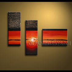 Enchanting Contemporary Wall Art Oil Painting On Canvas Panels Stretched Ready To Hang Abstract. This 3 panels canvas wall art is hand painted by Kerr.Donald, instock - $138. To see more, visit OilPaintingShops.com