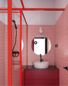 This funky student apartment in Madrid makes us go back to college This Funky Madrid house is bursting with design ideas for student apartments Architectural digest Red Bathroom Decor, Bathroom Colors, Bathroom Interior Design, Bathroom Storage, Small Bathroom, Bathroom Cabinets, Bathroom Ideas, Red Bathrooms, Bathroom Things