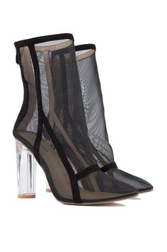 Front View Mesh Detail Booties in Black
