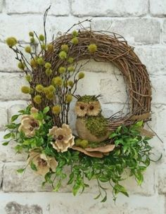 Owl Wreath Summer Wreath for Door Front Door Wreath Fall Etsy Wreaths, Owl Wreaths, Wreath Crafts, Holiday Wreaths, Wreaths For Front Door, Front Doors, Silk Flower Wreaths, Floral Wreath, Pink Wreath
