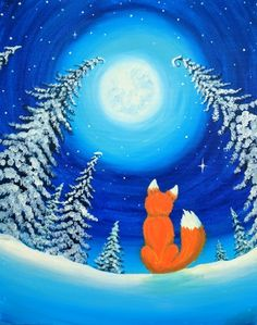 Join us for a Paint Nite event Fri Feb 2016 at 221 Preca. 2019 - AnimalsJoin us for a Paint Nite event Fri Feb 2016 at 221 Precast Way Troutville, VA. Purchase your tickets online to reserve a fun night out! Christmas Canvas Art, Christmas Paintings, Fox Painting, Winter Painting, Acrylic Painting For Kids, Wine And Canvas, Winter Art Projects, Diy Canvas Art, Art Plastique