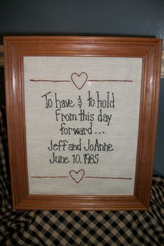 Have to have this!!!! Primitive country stitchery wedding day keepsake by joannebelcher, $14.95