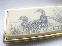Marked BARLOW  1970s scrimshaw rectangle duck pendant etsy shop: VintageAngeline