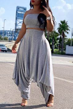 Grey One Piece, Two Piece Pants Set, Long Jumpsuits, Jumpsuits For Women, Girl Fashion, Fashion Dresses, Womens Fashion, Midi Dresses, Style Fashion