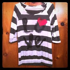 LOVE striped shirt Very good condition. Never worn. It has half sleeves. Tops Tees - Short Sleeve