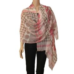 Light and soft 100% cashmere twill weave stole. Abstract polka dot prints all over with an understated colour combination of light pink and dark beige on off white base