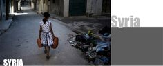 A girl carrying jerrycans of water, walks past a pile of debris on a street in Aleppo, Syria. Earth Month, Water And Sanitation, Refugee Crisis, Walk Past, Water Supply, Syria, Human Rights, Aleppo, Children