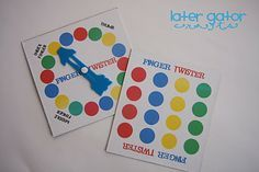Printable Finger Twister board and spinner so I don't have to buy it.. awesome!