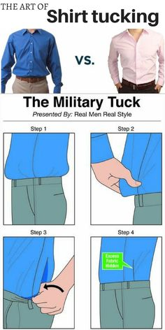 Men's Style tip (works for women too): there is a right way to tuck in your shirt so that it looks neat and crisp and stays all day. Checkout this step by step tutorial. | men's fashion |