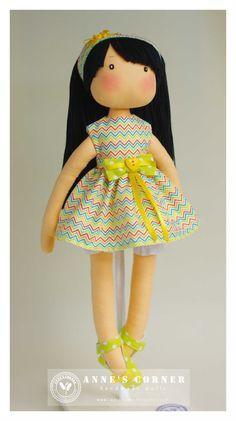 Susie - hand made rag doll - by AnneCorner by AnneCorner on Etsy