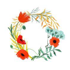 poppy wreath . katie vernon art + illustration