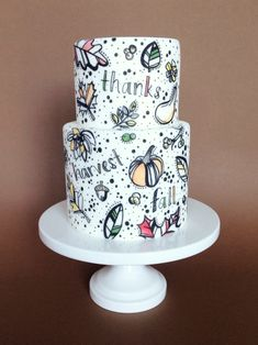 Fall doodle cake — Eat Cake Be Merry - Custom Cakes For Merry Occassions Gorgeous Cakes, Pretty Cakes, Amazing Cakes, Fondant Cakes, Cupcake Cakes, Barney Cake, 19th Birthday Cakes, Doodle Cake, Fall Cakes