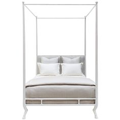 Faline Bed by Oly Studio. Sculptured iron frame with upholstered headboard. Available finishes: antiqued bronze, antiqued gold, antiqued silver or matte white. Upholstery: Grades A, B, C, D, E, F, G, H, I    Click here to view all available swatches