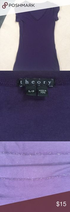 Theory purple t-shirt Good used condition small Theory purple V neck t-shirt. 92% cotton 8% spandex. Some fraying on the inside (3rd picture). It's not the thread but some thin stretchy material. No rips, tears, stains, or odor. Theory Tops Tees - Short Sleeve