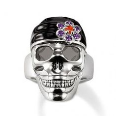 """☠ Pirate Skull Ring ~ """"Pirate skull"""" ring made from blackened 925 Sterling silver and black enamel, with a flower made from amethyst and orange syn. Thomas Sabo, Hello Kitty Jewelry, Silver Skull Ring, Unusual Rings, Skull Jewelry, Jewellery, Men's Jewelry, Silver Jewelry, Pirate Skull"""