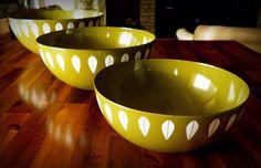 "PRISTINE Set of 3 Mid Century Cathrineholm (Norway) Nesting Bowls--Iconic ""Lotus"" Pattern--EXCELLENT Condition--Grete Prytz Kittelsen Design"