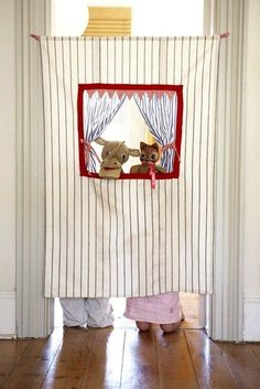 Bed sheet turned puppet theater- I love this idea!!!