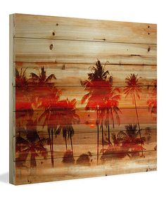 Look what I found on #zulily! 'Crimson Palms' Wood Wall Art #zulilyfinds