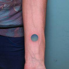 """ #handpoked #handpushed #sticknpoke #stickandpoke #tattoo #circle #color #gradient #turquoise #watercolor #sky"""