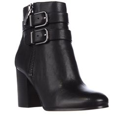 Via Spiga Briella Double Strap Buckle Ankle Boots - Black