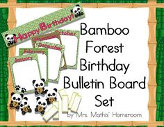 Everything you need to post class birthdays in a fun bamboo forest and panda theme! Print banner and labels that you need on cardstock, laminate and cut out.Includes banner spelling HAPPY BIRTHDAY !, month posters from January to December, numbers from 1 to 31 and name tags. $5.00