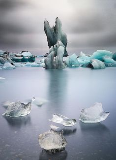 An Iceland Glacier--melting. Sounds interesting, but the composition of this image is just the tops!