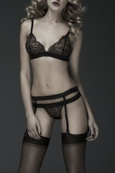 Triangle Bra Black Montmartre from Les Chandelles Lingerie - I love everything about this look. It's both super refined and super sexy. As you'll see I'm a sucker for bandage type straps and this has them aplenty.