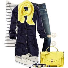 Cute for cool nights. Yellow and navy are so chic together.
