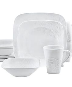 Corelle Dinnerware, Cherish Embossed Square 16 Piece Set....this is wut i want!