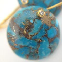 #Brass #Infused #Turquoise #Diamond #Earrings