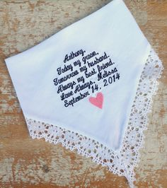 A personal favorite from my Etsy shop https://www.etsy.com/listing/158371393/embroidered-wedding-handkerchief
