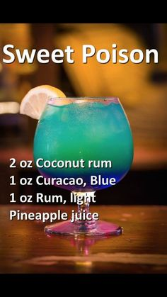 Smoothie blue ocean with recipe (mixed drinks with rum) #rumdrinks