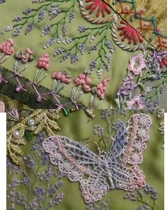 I ❤ crazy quilting . . . I dyed a lacy butterfly to echo the color of the lace on the seam and also added a light floral… http://ibeebz.com