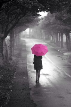 pink umbrella In the Rain by Sunny Kang