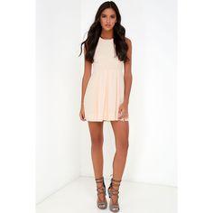 Test Drive Light Blush Dress ($45) ❤ liked on Polyvore featuring dresses, princess seam dress, lulu dresses, round neck sleeveless dress, cut out dress and white full skirt