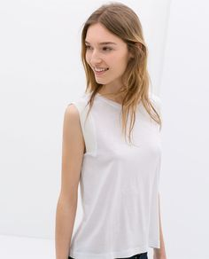 Image 2 of T-SHIRT WITH RIBBED DETAILS from Zara