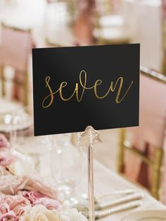 Gold Foil Table Numbers Gold Table Number by PaperCharmStore