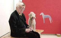 Craigie Aitchison with his dog, Sunday, and his painting 'Dog in Red' at his retrospective at the Royal Academy in 2003 Photo: REX Old Book Crafts, People Of Interest, Outdoor Sculpture, Middle School Art, Word Pictures, Cute Crafts, Art World, Art Decor, Illustration Art