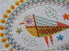 Nancy Nicholson. Birdie 2 Embroidery Kit Detail