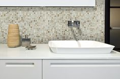 BuildDirect – Glass Mosaic - Iridescent Series – Ivory - Bathroom View.  Powder Room, behind mirror