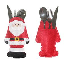 Santa Claus Christmas Cutlery Holder Bags Fork Spoon Pockets Decor snowman Silverware Holders ornaments tables new year Home