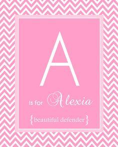 Chevron Baby Nursery Name Art Girl Pink 8x10 by BabyBunsDesigns